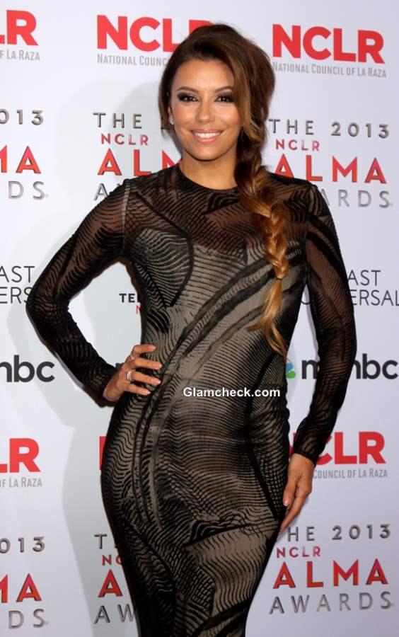 Eva Longoria Voluminous Side Plait at the 2013 ALMA Awards