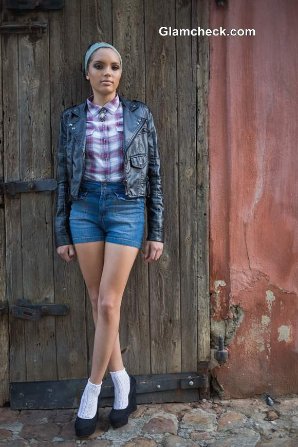 Everyday Early Fall Look - Wearing  Shorts with a Leather Jacket