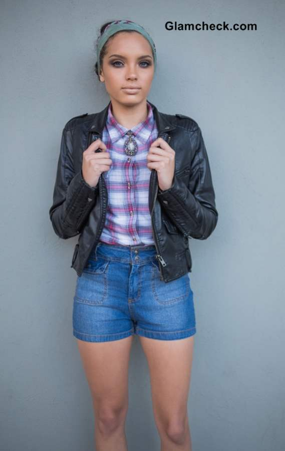 Everyday Fall Look - Wearing  Shorts with a Leather Jacket