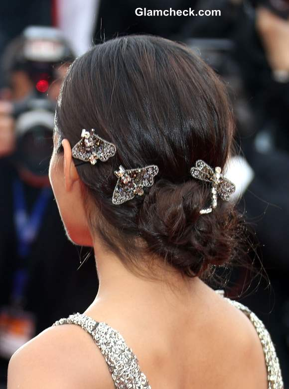 Freida Pinto embellished Hair Clips at the 66th Cannes Film Festival