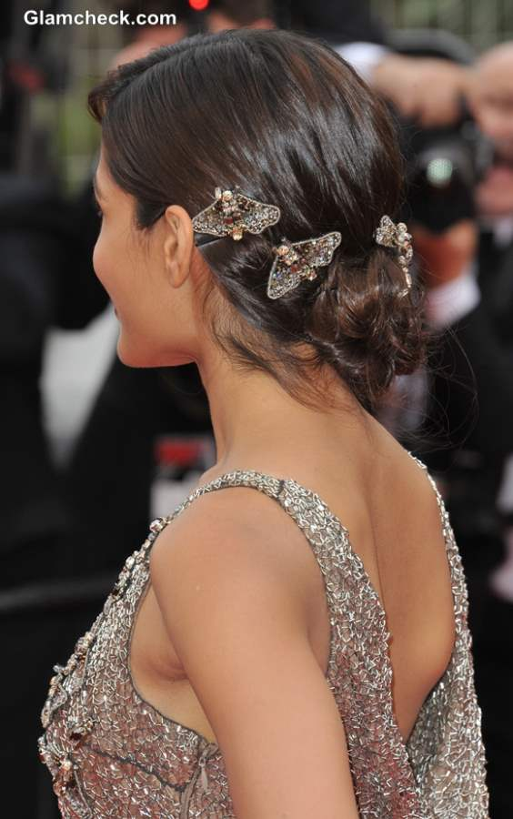 Hair Accessory Freida Pinto embellished Hair Clips at the 66th Cannes Film Festival