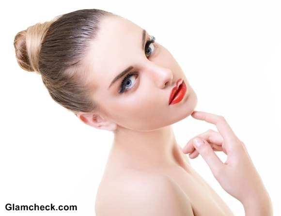 Hair Makeup Red Lips Defined eyes