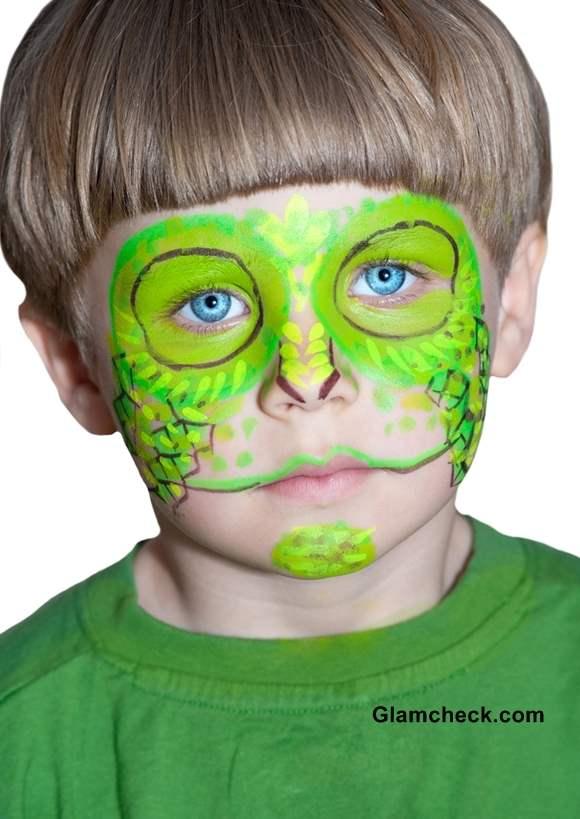 Halloween Chameleon Face Art for Little Boys
