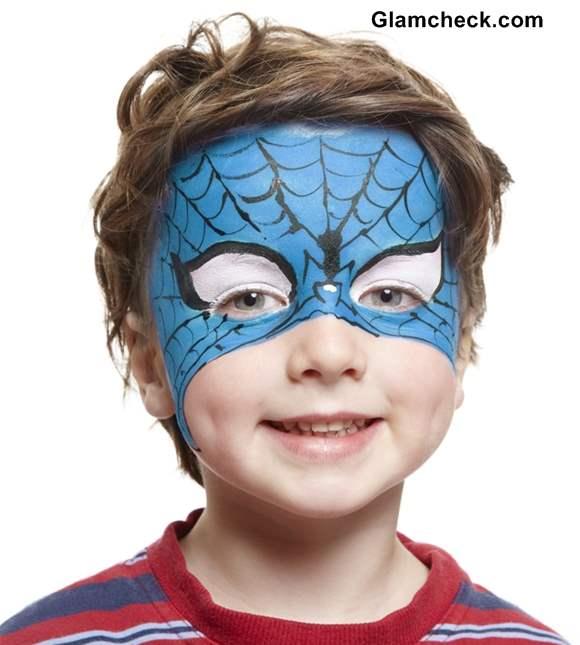 Halloween Spiderman Costume Face Art for Little Boys
