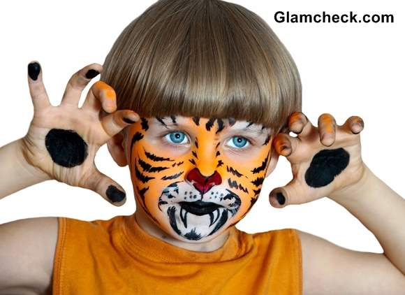 Halloween Tiger Face Art for Little Boys
