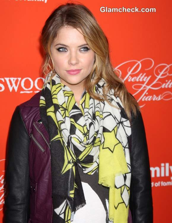 How to Brighten Up Your Look with bright Printed Scarf like  Ashley Benson