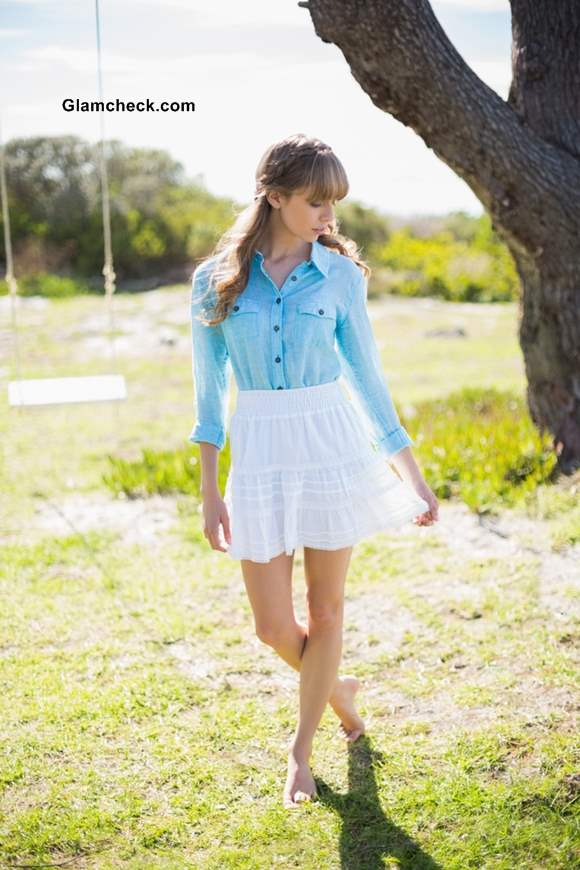 How to Wear a Denim Shirt with a Flirty White Skirt