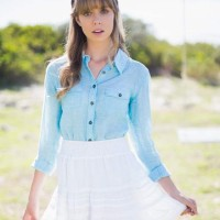 How to Wear a Denim Shirt with a White Skirt