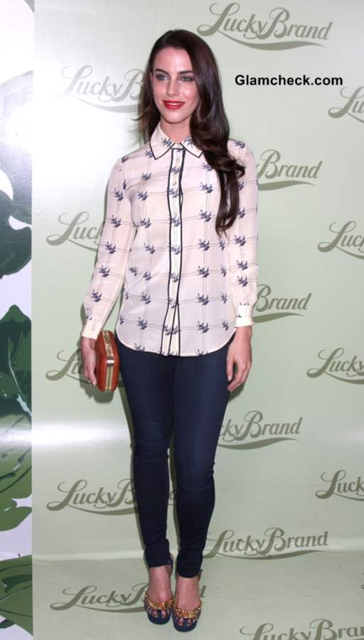 Jessica Lowndes Sports Bird Print Shirt at Lucky Brand Store Opening