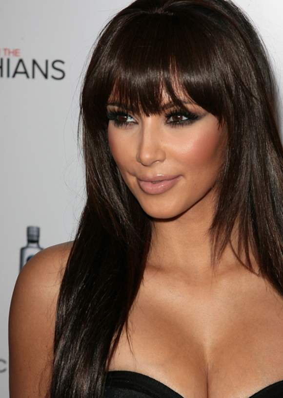 Kim Kardashian Hairstyle Long hair with bangs