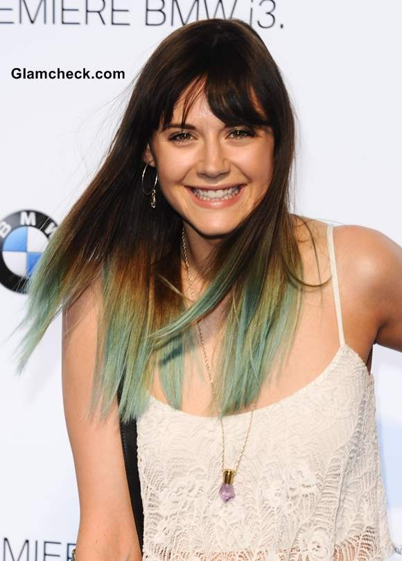 Lilah Parsons Dip-Dyed Mint Green Hair Color