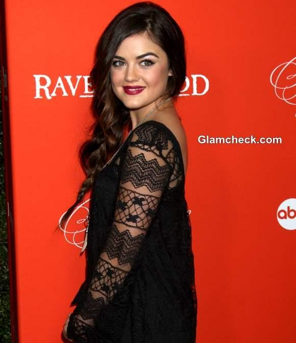 Lucy Hale in Dressy Halloween Black Lace Dress for Pretty Little Liars Screening 2013