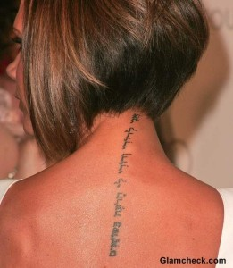 Neck Tattoo Victoria Beckham