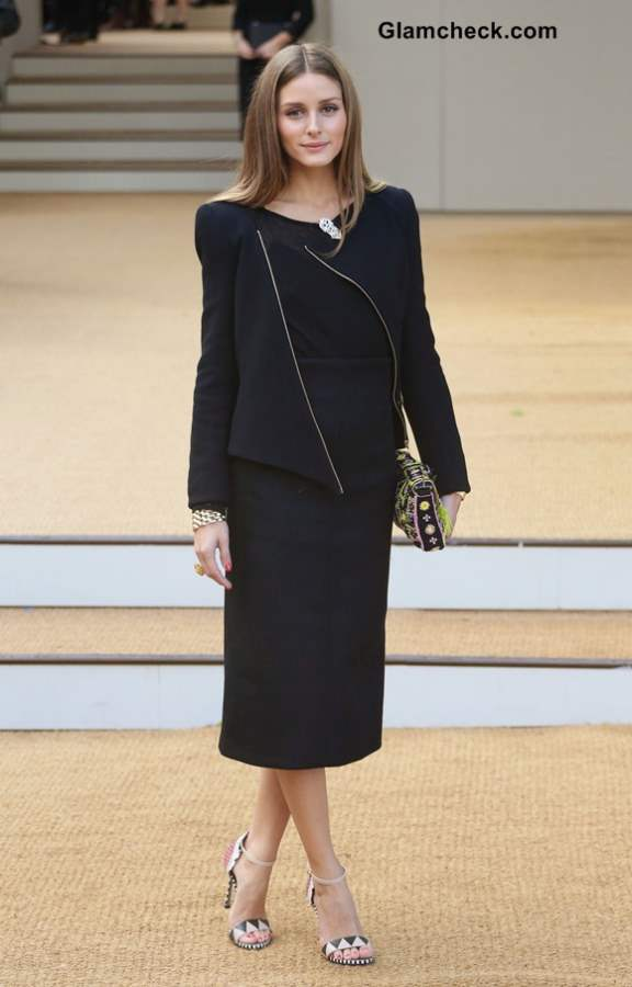 Olivia Palermo in Black and Blue at Burberry Prorsum show LFW SS 14