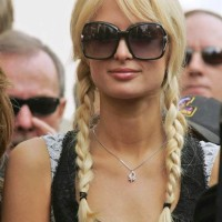 Paris Hilton Sports Cutesy Pigtails