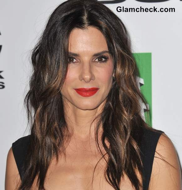 Sandra Bullock Red Lips Curly Hair