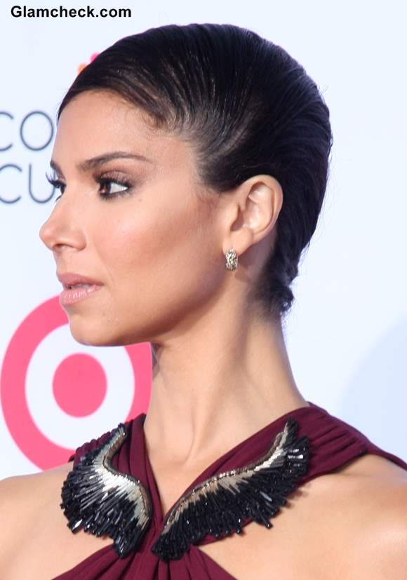 Sleek Side-swept Bun Hairstyle 2013 Roselyn Sanchez