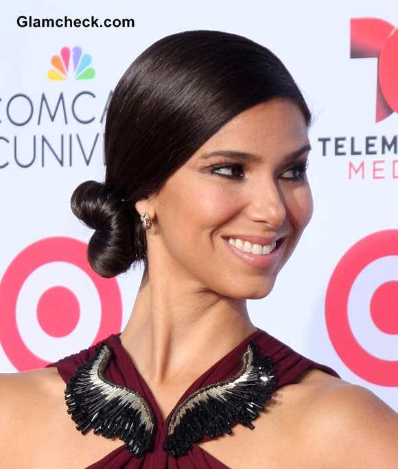 Sleek Side-swept Bun Hairstyle - Roselyn Sanchez