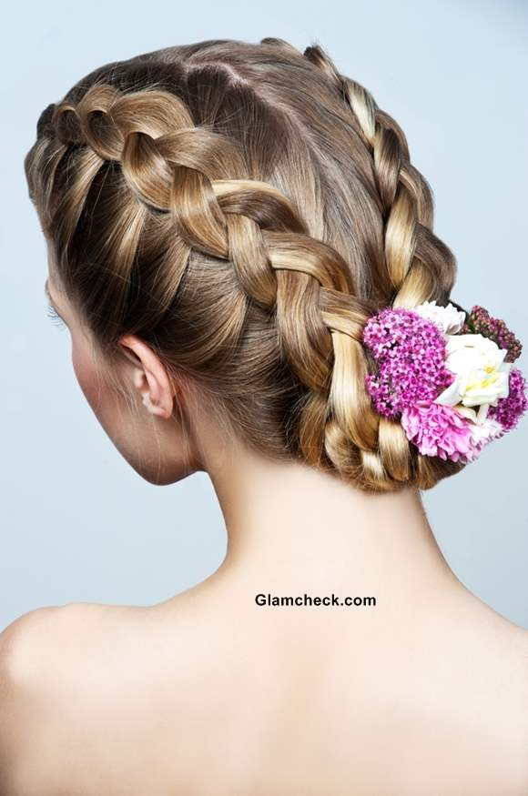 Two Row Dutch Braids and Bun Hairstyle