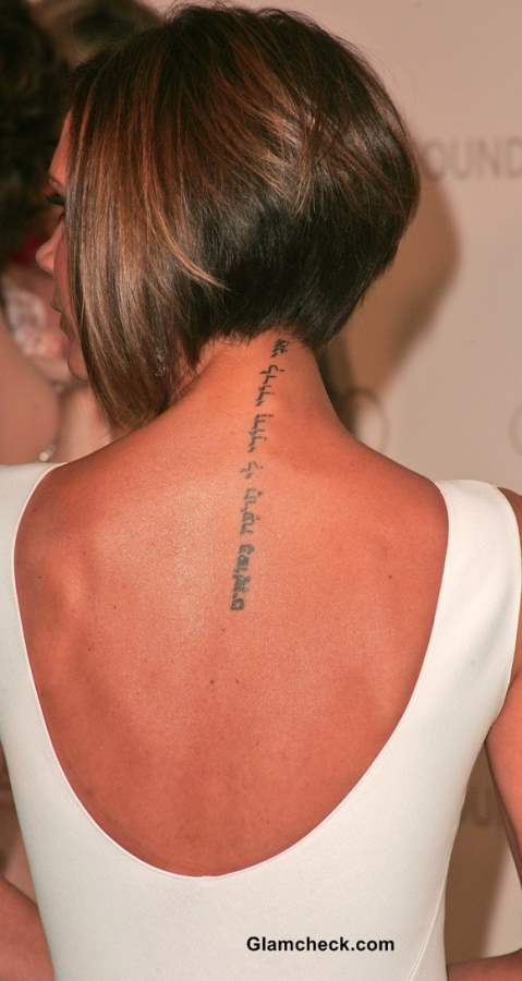 Victoria Beckham Neck Tattoo
