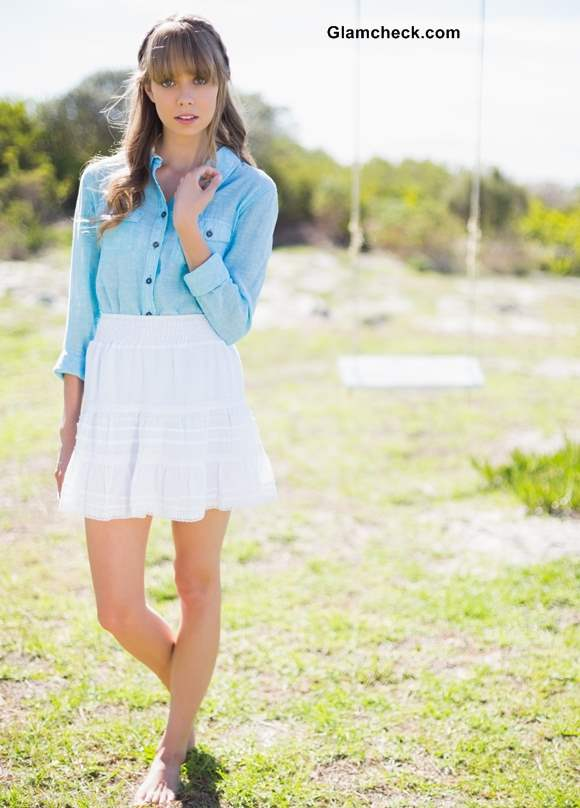 Wearing a Denim Shirt with a Flirty White Skirt
