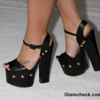 Black Ankle Strap Heels Demi Lovato at Frozen World Premiere