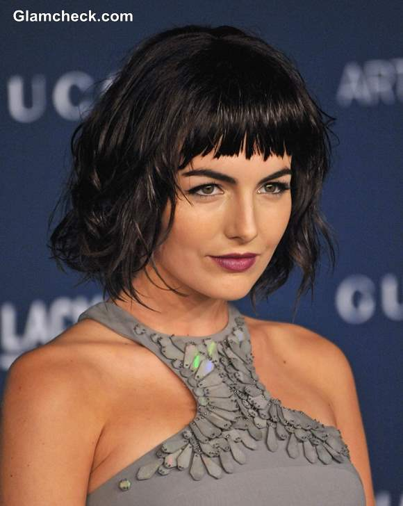 Camilla Belle Choppy Bangs and Messy Bob Hairstyle