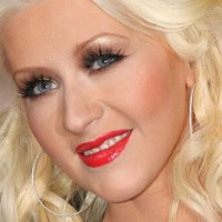 Christina Aguilera Shimmery Eyes Red Lips