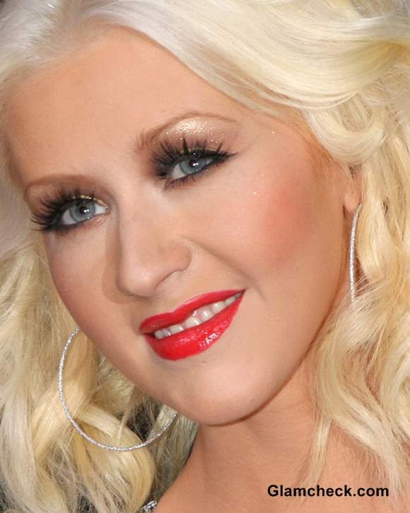 Christina Aguilera Shimmery Eyes Red Lips