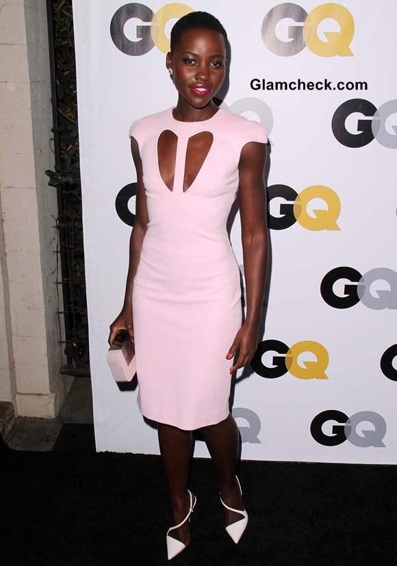 Cutout Neckline pink Sheath Dress