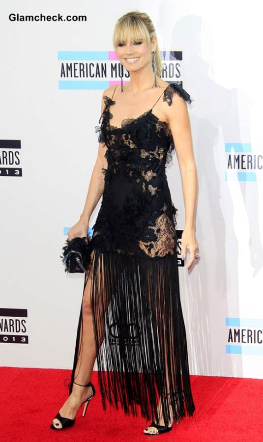 Heidi Klum Sizzles in Black Delicate Lace and Fringes at AMA 2013