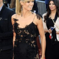 Heidi Klum in Black Lace and Fringes at AMA 2013