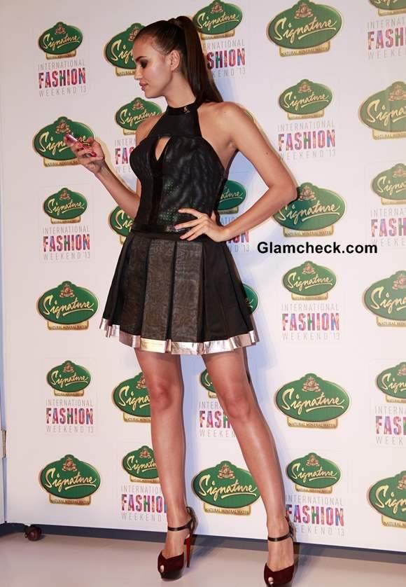 Irina Shayk In little black dress for Cute Circuit at SIFW 2013