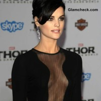 Jaime Alexander in Revealing Sheer Dress