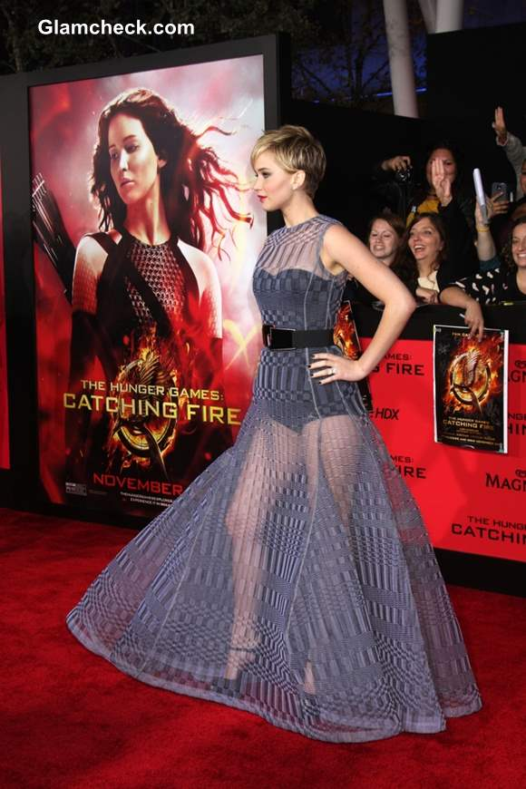 Jennifer Lawrence in Dior Couture Evening Gown at The Hunger Games Catching Fire Premiere