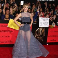 Jennifer Lawrence in Sheer Dior Couture Evening Gown at The Hunger Games Catching Fire Premiere