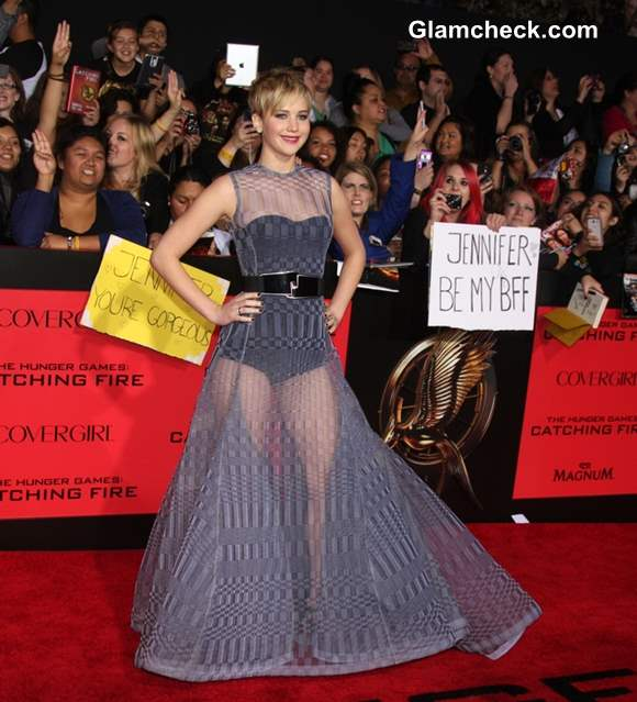 "Jennifer Lawrence in Sheer Dior Couture Gown at ""The Hunger Games ..."