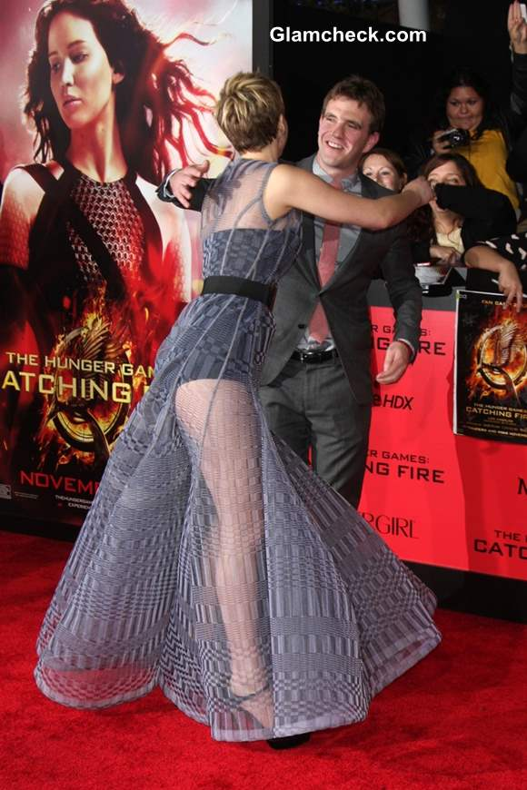 Jennifer Lawrence in Sheer Dior Couture Gown The Hunger Games Catching Fire Premiere