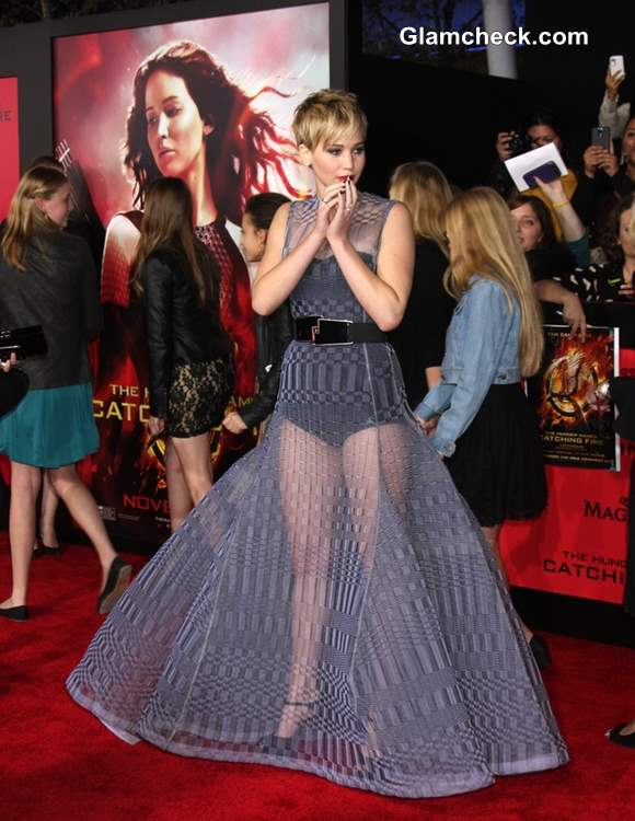 Jennifer Lawrence in Sheer Dior Couture Gown at The Hunger Games Catching Fire Premiere