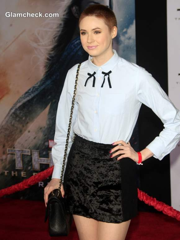 Karen Gillan in Black Mini Skirt at Thor- The Dark World Premiere
