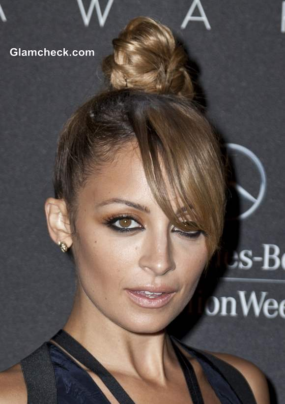 Nicole Richie Top Knot with Side-Swept Bangs Hairstyle