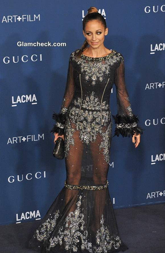 Nicole Richie in Dolce and Gabbana Sheer Black Gown at LACMA Gala