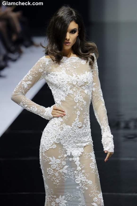 Olesya Malinskaya White Lace Gown
