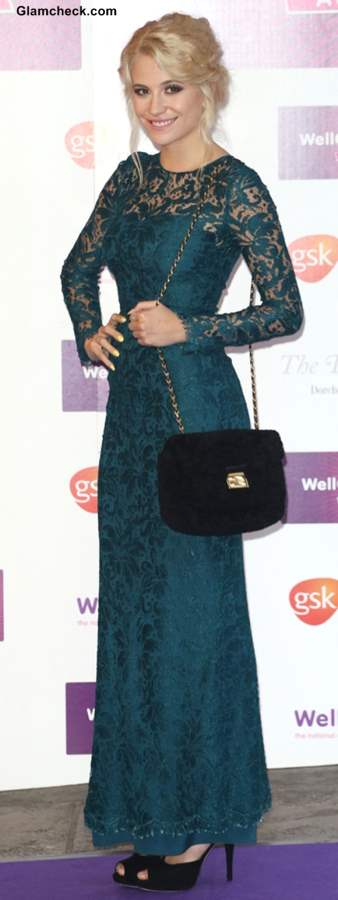 Pixie Lott in Lace Evening Gown at The Wellchild Awards 2013