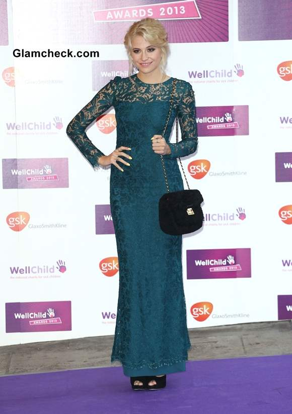 Pixie Lott in Turquoise Lace Evening Gown at The Wellchild Awards 2013