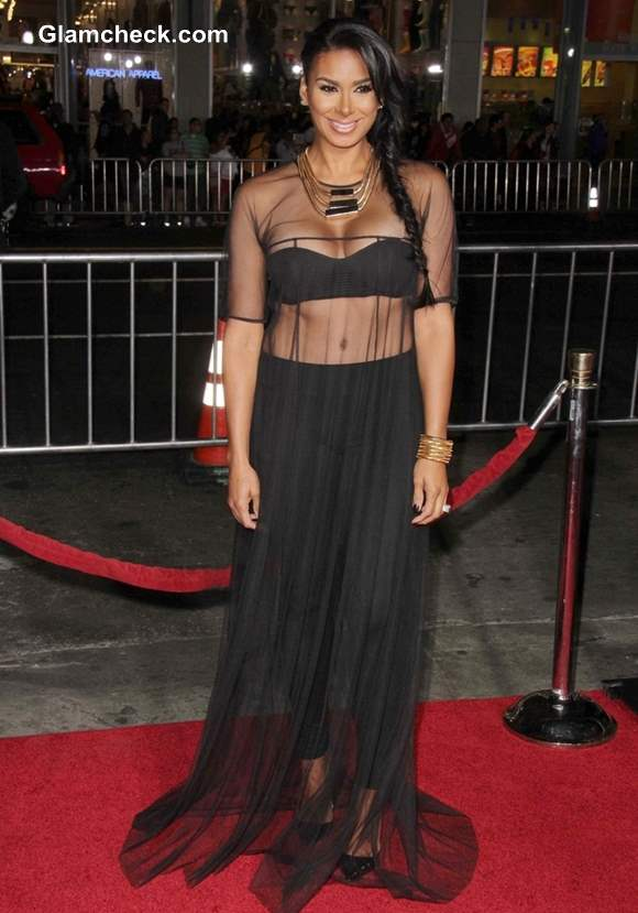 Sheer Dresse and Cropped Top - Laura Govan at The Best Man Holiday Premiere