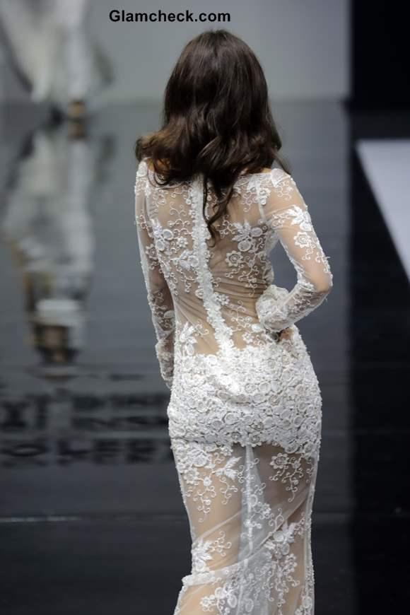 Sheer Lace Gown by Olesya Malinskaya
