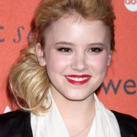 Taylor Spreitler Sports Side-Swept Hairstyle at ABCs CRUSH Launch