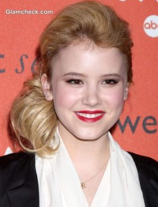 Taylor Spreitler Sports Side-Swept Hairstyle at ABC's CRUSH Launch