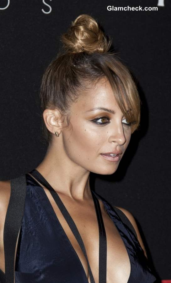 Top Knot with Side-Swept Bangs Hairstyle Nicole Richie